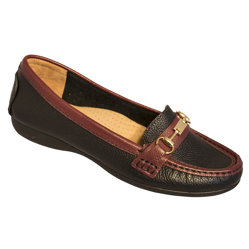 SALE GLOBO Ashby - Black/Cranberry supersoft leather