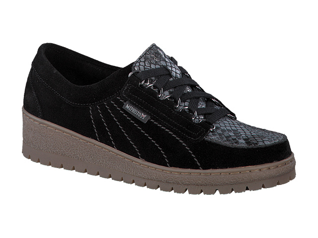 Mephisto Lady - Black velour suede/boa print leather LIMITED EDITION